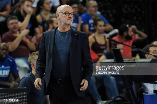 Finland's coach Henrik Dettmann reacts during the 2019 FIBA Basketball World Championship European qualifying group match between France and Finland...