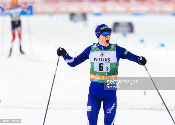 Finland's Eero Hirvonen finishes first at Men's Nordic Combined HS130 2x7.5km Team Sprint at Lahti Ski Games in Lahti, Finland on 9 February 2019.