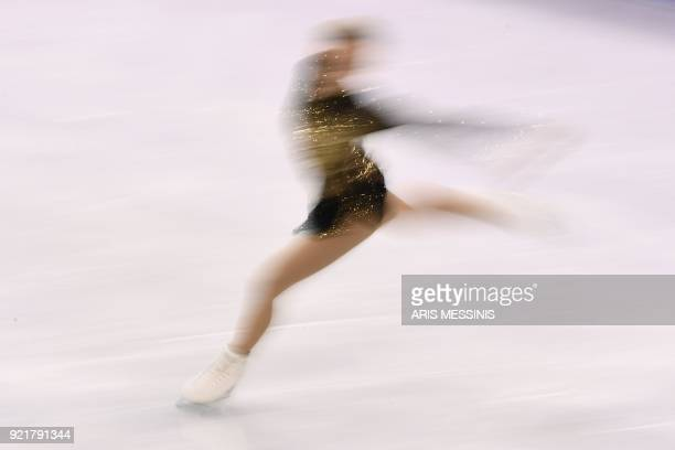 TOPSHOT Finland's Emmi Peltonen competes in the women's single skating short program of the figure skating event during the Pyeongchang 2018 Winter...