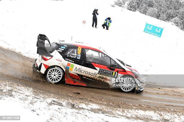 Finland's Esapekka Lappi steers his Toyota Yaris WRC during the ES 10 of the third stage of the 86th Monte Carlo Rally between St Leger Les Melezes...