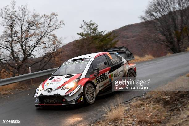 Finland's Esapekka Lappi steers his Toyota Yaris WRC during the ES 8 of the second stage of the 86th Monte Carlo Rally between Vaumeilh and Claret on...