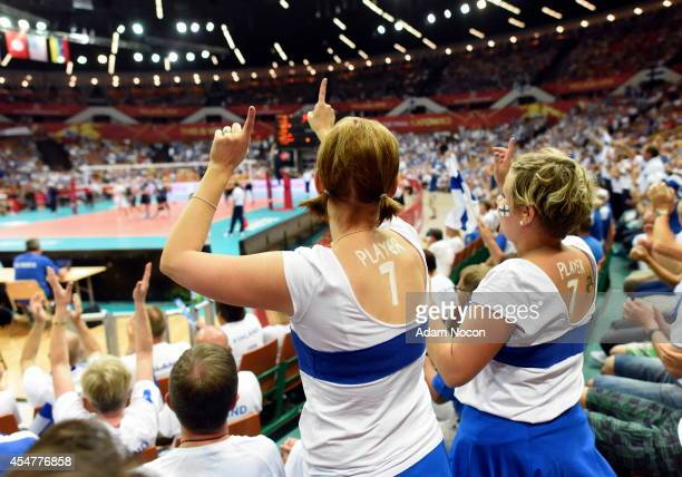 Finland's fans during the FIVB World Championships match between Finland and Germany on Septembert 6 2014 in Katowice Poland