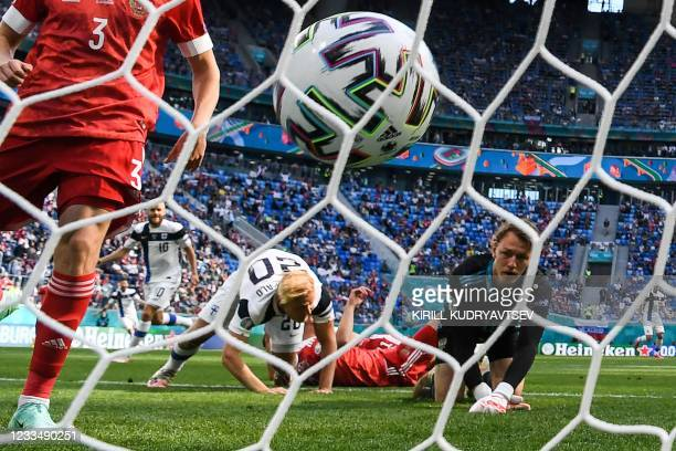 Finland's forward Joel Pohjanpalo reacts after scoring a goal disallowed for an offside ruling during the UEFA EURO 2020 Group B football match...