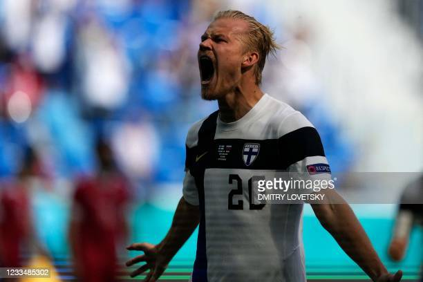 Finland's forward Joel Pohjanpalo reacts during the UEFA EURO 2020 Group B football match between Finland and Russia at the Saint Petersburg Stadium...
