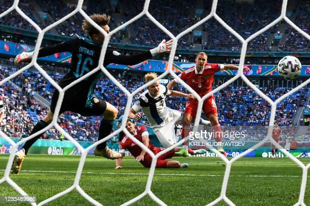 Finland's forward Joel Pohjanpalo scores a goal disallowed for an offside ruling during the UEFA EURO 2020 Group B football match between Finland and...