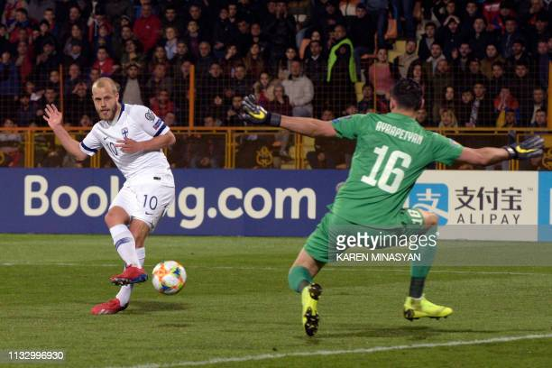 Finland's forward Teemo Pukki attempts a shot during the Euro 2020 football qualification match between Armenia and Finland in Yerevan on March 26...