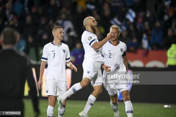 Finland's forward Teemu Pukki celebrates scoring during the UEFA Euro 2020 Group J qualification football match between Finland and Liechtenstein in...