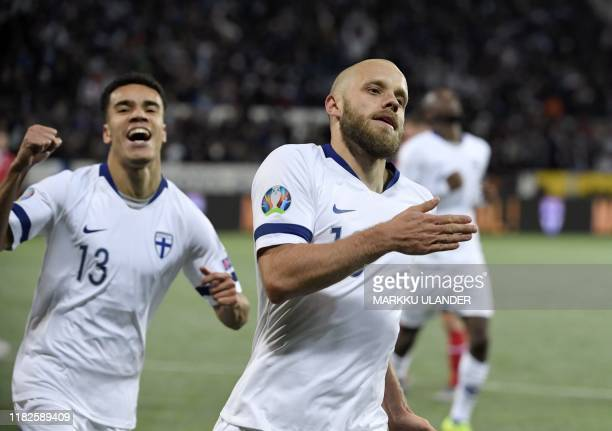 Finland's forward Teemu Pukki celebrates scoring during the UEFA Euro 2020 Group J qualification football match between Finland and Liechtenstein in...