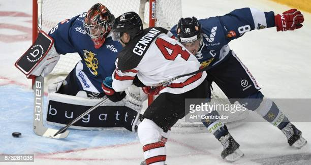 Finland's goalie Eero Kilpelainen makes a save on the shot by Canada's Charles Genoway during the Ice Hockey Euro Hockey Tour Karjala Cup match...