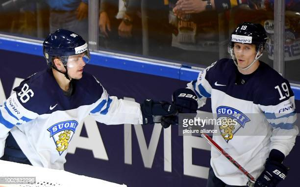 Finland's goalscorer of the 40 Mikko Rantanen celebrates together with VeliMatti Savinainen during the Ice Hockey World Championship thirdplace match...