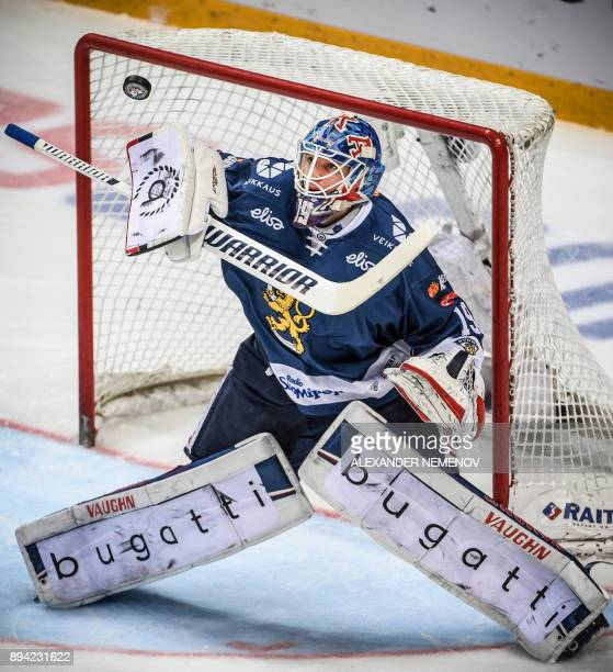Finland's goaltender Mikko Koskinen blocks a shot during the Channel One Cup of the Euro Hockey Tour ice hockey match between Russia and Finland in...