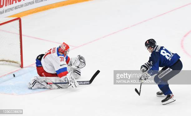 Finland's Harri Pesonen scores during the Channel One Cup of the Euro Hockey Tour ice hockey match between Russia and Finland at CSKA Arena in Moscow...