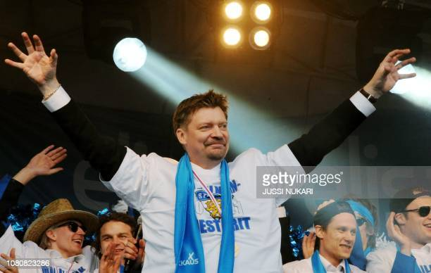 Finland's head coach Jukka Jalonen celebrates during the celebrations Finland's victory in the Ice Hockey World championship 2011, during the gold...