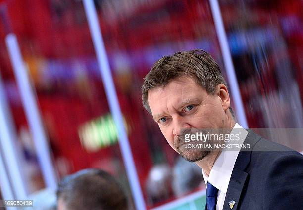 Finland's head coach Jukka Jalonen looks on during the bronze medal match Finland vs USA at the 2013 IIHF Ice Hockey World Championships on May 19,...