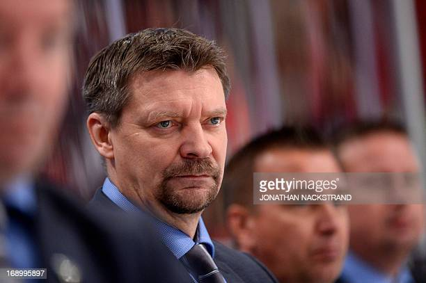 Finland's head coach Jukka Jalonen looks on during the semi-final match Finland vs Sweden at the 2013 IIHF Ice Hockey World Championships on May 18,...