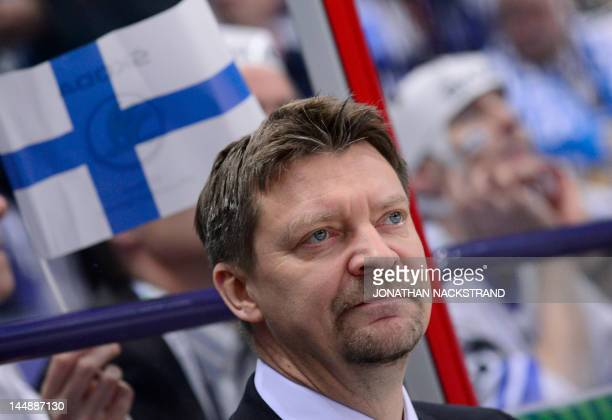 Finland's head coach Jukka Jalonen reacts during a bronze medal match against Czech Republic at the Ice Hockey World Championships in Helsinki on May...