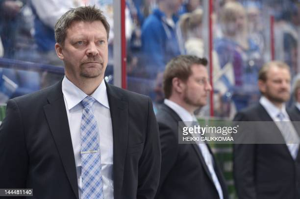 Finland's head coach Jukka Jalonen reacts during the Group H game between Kazakhstan and Finland, part of the 2012 IIHF Ice Hockey World...
