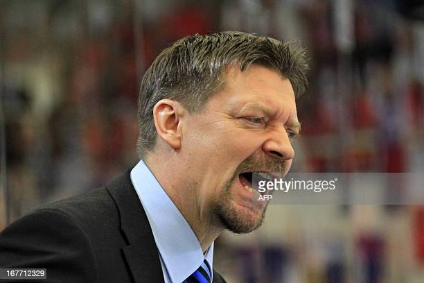 Finland's head coach Jukka Jalonen reacts during the ice hockey match Sweden-Finland at the Czech hockey games, the last of the four Euro Hockey Tour...