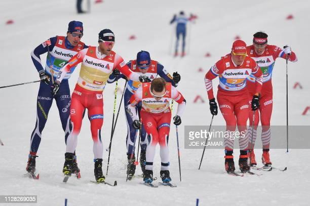 Finland's Iivo Niskanen Norway's Martin Johnsrud Sundby Matti Heikkinen Norway's Sjur Roethe Russia's Alexander Bolshunov and Russia's Alexander...