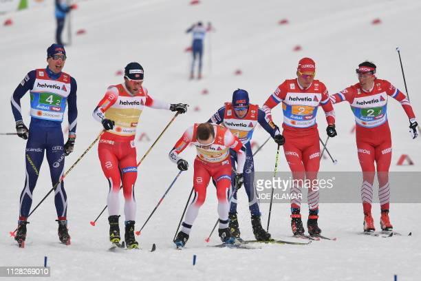 Finland's Iivo Niskanen Norway's Martin Johnsrud Sundby Norway's Sjur Roethe Matti Heikkinen Russia's Alexander Bolshunov and Russia's Alexander...