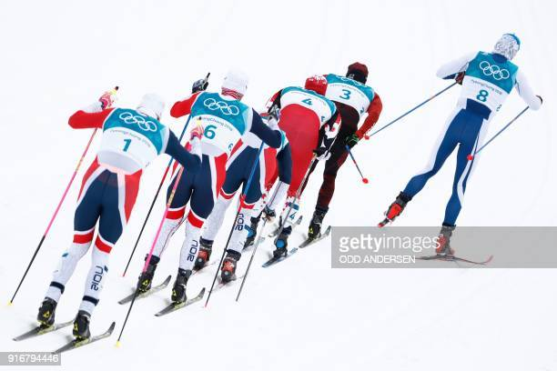 TOPSHOT Finland's Iivo Niskanen Switzerland's Dario Cologna Canada's Alex Harvey Norway's Hans Christer Holund Norway's Martin Johnsrud Sundbyand...