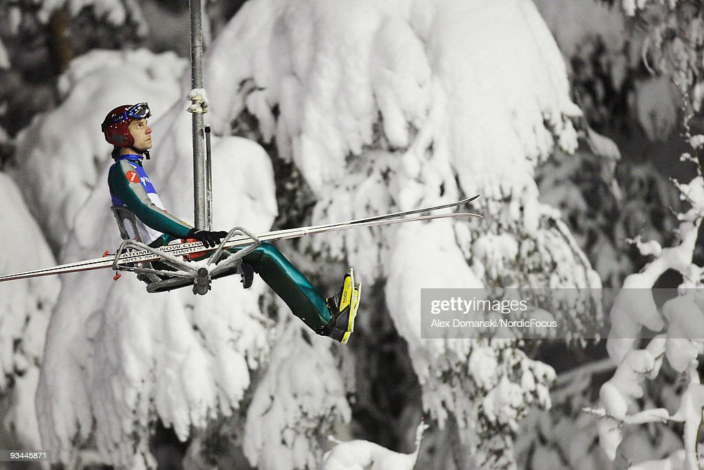 Finland's Janne Ahonen during the Ski Jumping qualification round of the FIS World Cup on November 26, 2009 in Kuusamo, Finland.