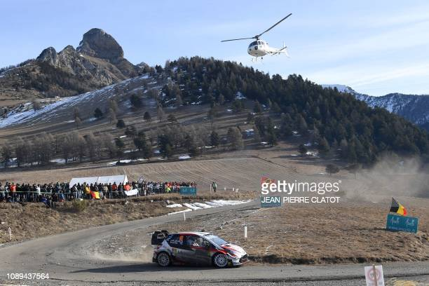 Finland's Jari-Matti Latvala and his co-pilot Miikka Anttila steer their Toyota Yaris WRC on January 26 during the ES 10 of the third stage of the...