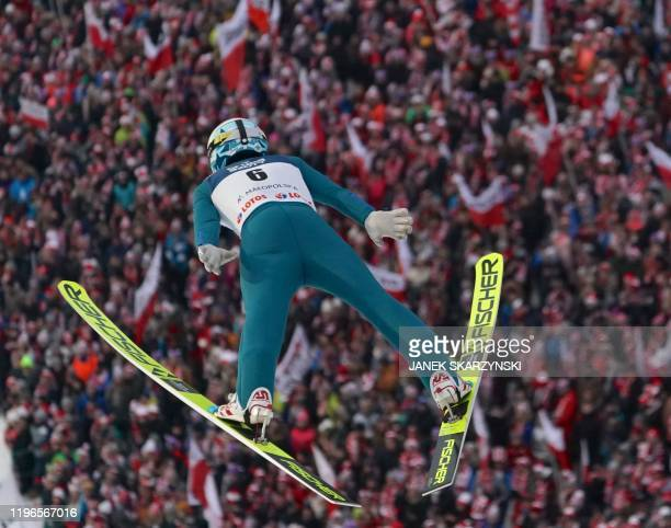 Finland's Jarkko Maatta soars through the air during the World Cup Ski Jumping competition in Zakopane Poland on January 26 2020