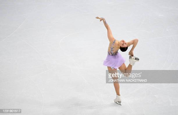 Finland's Jenni Saarinen performs during the ladies' short programme event at the ISU World Figure Skating Championships in Stockholm on March 24,...