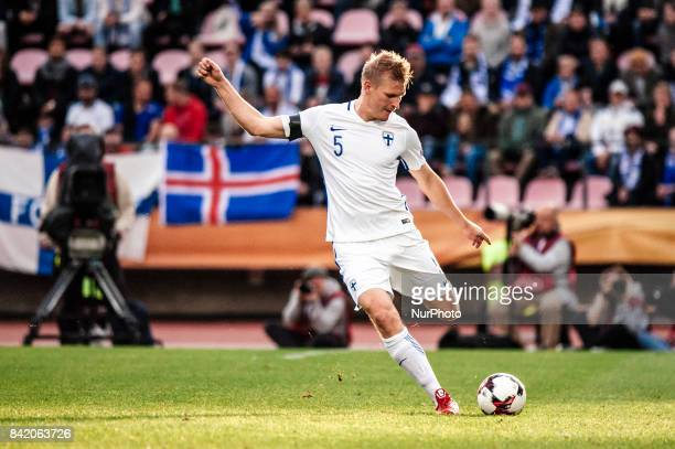 Finland's Juhani Ojala during the FIFA World Cup 2018 Group I football qualification match between Finland and Iceland in Tampere Finland on...