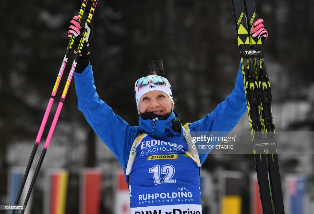 Finland's Kaisa Makarainen celebrates after finishing third in the women's 15 km individual event at the Biathlon World Cup on January 11, 2018 in Ruhpolding, southern Germany. Italy's Dorothea Wierer won the event ahead of Finland's Kaisa Makarainen (2nd) and Canada's Rosanna Crawford (3rd). /
