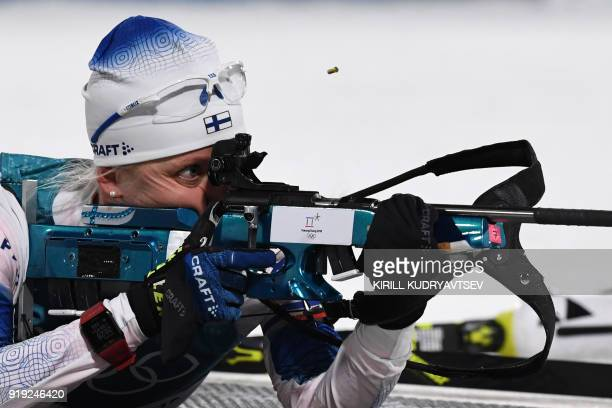 Finland's Kaisa Makarainen competes at the shooting range during the women's 125km mass start biathlon event during the Pyeongchang 2018 Winter...