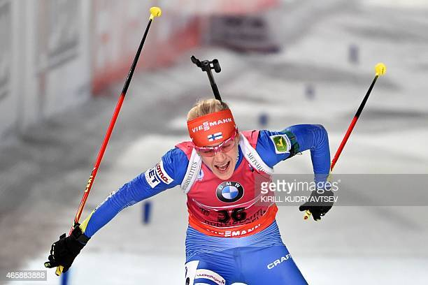 Finland's Kaisa Makarainen competes during the Women 15 km Individual at the IBU Biathlon World Championship in Kontiolahti Finland on March 11...