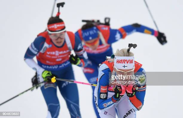 Finland's Kaisa Makarainen competes during the women's 125 kilometer mass start competition at the Biathlon World Cup on January 14 2018 in...
