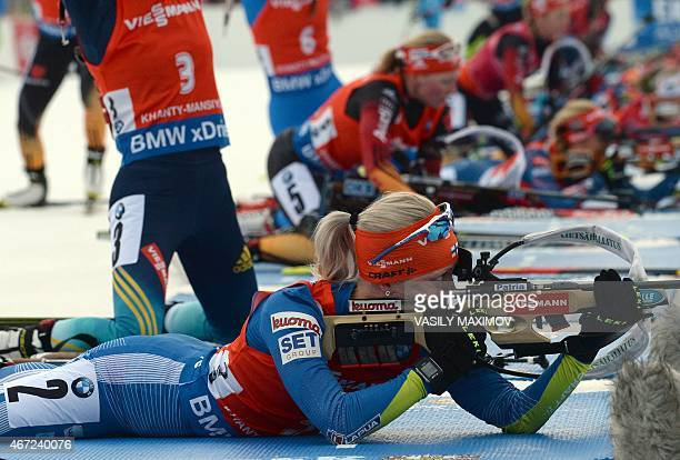 Finland's Kaisa Makarainen competes during the women's 125 km mass start event of the Biathlon Word Cup on March 22 in KhantyMansiysk AFP PHOTO /...