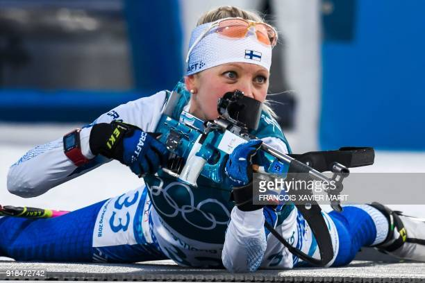 Finland's Kaisa Makarainen competes in the women's 15km individual biathlon event at the Alpensia biathlon center during the Pyeongchang 2018 Winter...