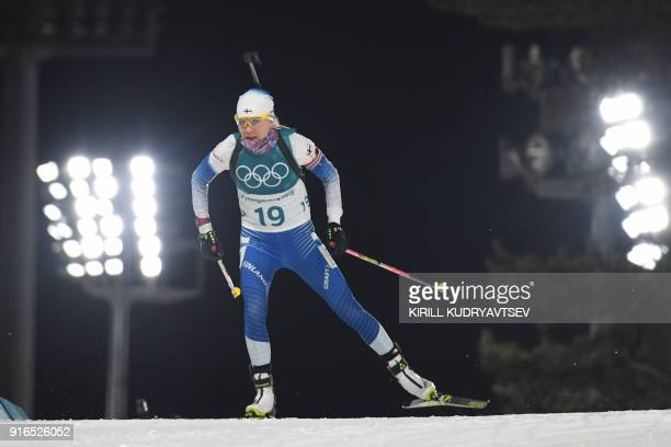 Finland's Kaisa Makarainen competes in the women's 75 km sprint biathlon event during the Pyeongchang 2018 Winter Olympic Games on February 10 in...
