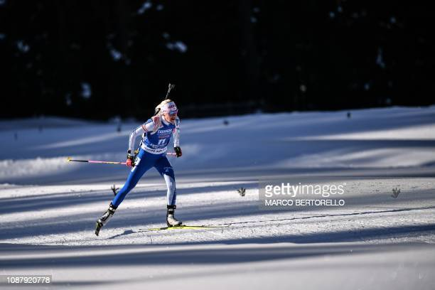 Finland's Kaisa Makarainen competes to place second in the women's 75 km sprint event of the IBU Biathlon World Cup in RasenAntholz Italian Alps on...