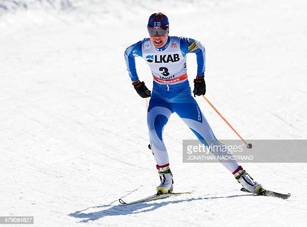 Finland's Kerttu Niskanen competes during the FIS CrossCountry World Cup Ladies 10 km F Pursuit in Falun on March 16 2014 Norway's Therese Johaug won...