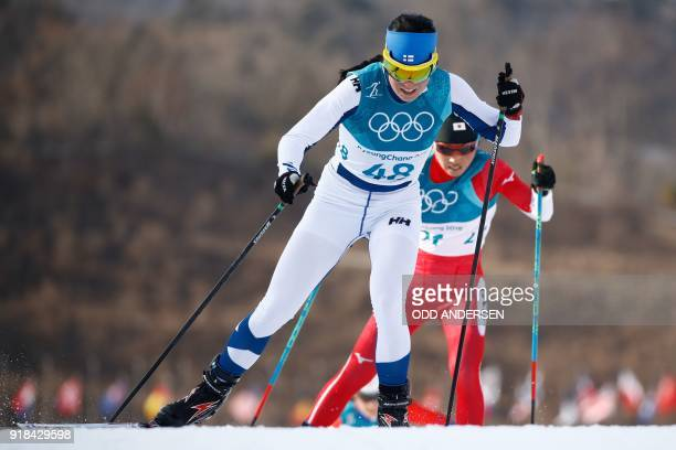 TOPSHOT Finland's Krista Parmakoski competes during the women's 10km freestyle crosscountry competition at the Alpensia cross country ski centre...