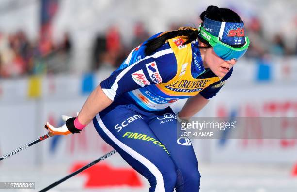 Finland's Krista Parmakoski competes in the Ladies' 10km cross-country event at the FIS Nordic World Ski Championships on February 26, 2019 in...