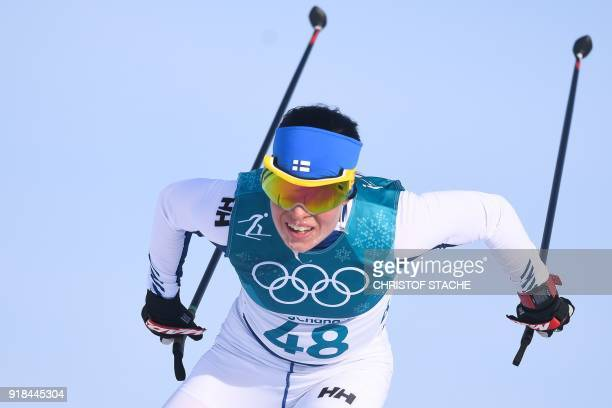 TOPSHOT Finland's Krista Parmakoski competes to win bronze during the women's 10km freestyle crosscountry competition at the Alpensia cross country...