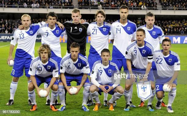 Finland's lineup Teemu Pukki Mika Väyrynen Alexander Ring Niklas Moisander and Jukka Raitala Kari Arkivuo Roman Eremenko goalie Lukas Hradecky Kasper...