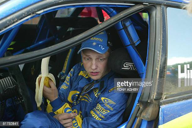 Finland's Mikko Hirvonen who is running fifth takes some potassium between events at the Stirling Dam section of the World Rally Leg 1 12 November...