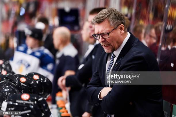 Finland's national team coach Jukka Jalonen is pictured during the Beijer Hockey Games between Sweden and Finland at the Ericson Globe Arena in...
