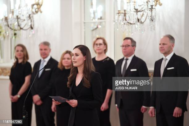 Finland's new Prime Sanna Marin speaks as the new government of Finland pays a complimentary visit to the President of Finland at the Presidential...