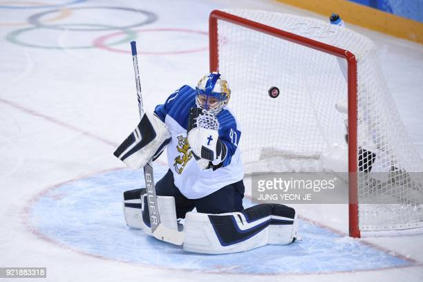 TOPSHOT Finland's Noora Raty blocks a shot in the women's bronze medal ice hockey match between Finland and the Olympic Athletes from Russia during...