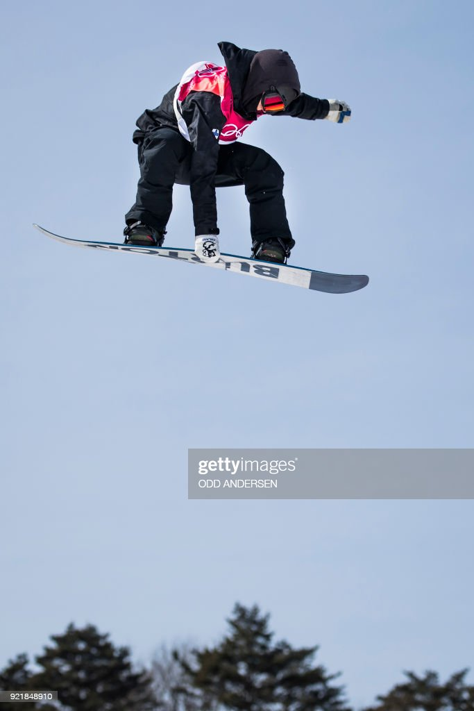 Finland's Peetu Piiroinen competes during the qualification of the men's snowboard big air event at the Alpensia Ski Jumping Centre during the Pyeongchang 2018 Winter Olympic Games in Pyeongchang on February 21, 2018. / AFP PHOTO / Odd ANDERSEN