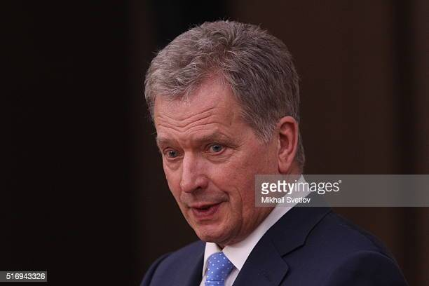 Finland's President Sauli Niinisto attends a meeting with Russian President Vladimir Putin at NovoOgaryovo State Residence on March 22 2016 in Moscow...