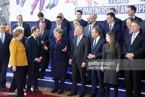 Finland's Prime minister Juha Sipila Germany's Chancellor Angela Merkel France's President Emmanuel Macron Norway's Prime Minister Erna Solberg Prime...
